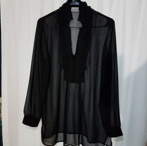 Black Flowy See Through Overshirt